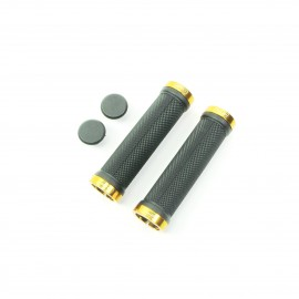 Sd Bmx/Mtb Black Lock On Grip 130Mm Without Flange, Lockrings Gold