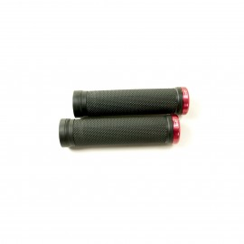 Sd Bmx/Mtb Black V2 Lock On Grip 130Mm Without Flange, V2 Lockrings Red
