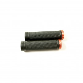 Sd Bmx/Mtb Black V2 Lock On Grip 130Mm Without Flange, V2 Lockrings Orange