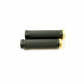 Sd Bmx/Mtb Black V2 Lock On Grip 130Mm Without Flange, V2 Lockrings Gold