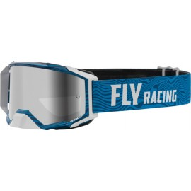 Fly Zone Pro Goggle 2021 Blue/White W/Silver Mir/Smoke Lens W/Post