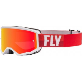 Fly Zone Goggle 2021 White/Red  W/Red Mirror/Brown Lens W/Post