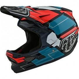 Troy Lee Designs D3 Fiberlite 2021 Helmet, Vertigo Blue / Red